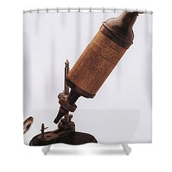 Hookes Microscope Shower Curtain by Photo Researchers