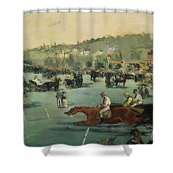 Horse Racing Shower Curtain by Edouard Manet