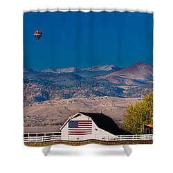 Hot Air Balloon With Usa Flag Barn God Bless The Usa Shower Curtain by James BO  Insogna