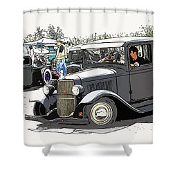 Hot Rod Show Trucks Shower Curtain by Steve McKinzie