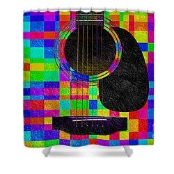 Hour Glass Guitar Random Rainbow Squares Shower Curtain by Andee Design