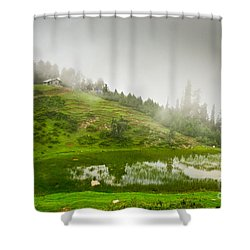 House And Fog Shower Curtain by Syed Aqueel