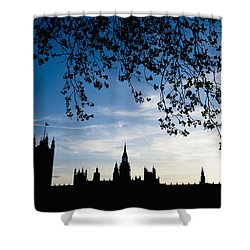 Houses Of Parliament Silhouette Shower Curtain by Axiom Photographic