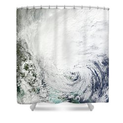 Hurricane Sandy Over The Bahamas Shower Curtain by Stocktrek Images