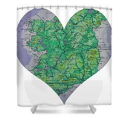 I Love Ireland Heart Map Shower Curtain by Georgia Fowler