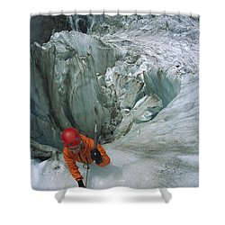 Ice Climber On Steep Ice In Fox Glacier Shower Curtain by Colin Monteath