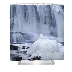 Icy Winter Waterfall Shower Curtain by John Stephens