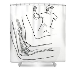 Illustration Of Elbow Ligaments Shower Curtain by Science Source