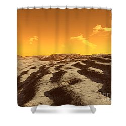 Illustration Of Terraced Terrain Shower Curtain by Ron Miller