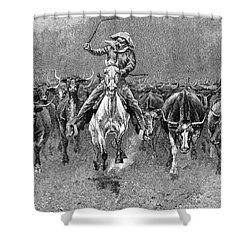 In A Stampede Shower Curtain by Granger