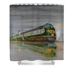 In The Cold Mist Shower Curtain by Christopher Jenkins