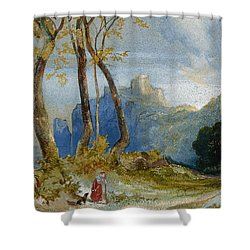 In The Hills Shower Curtain by Thomas Moran