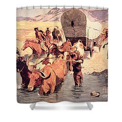 Indians Attacking A Pioneer Wagon Train Shower Curtain by Frederic Remington