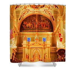 Inside St Louis Cathedral Jackson Square French Quarter New Orleans Accented Edges Digital Art Shower Curtain by Shawn O'Brien