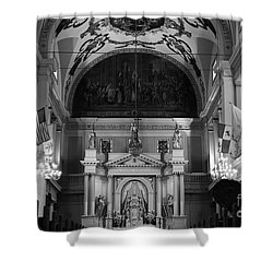 Inside St Louis Cathedral Jackson Square French Quarter New Orleans Black And White Shower Curtain by Shawn O'Brien