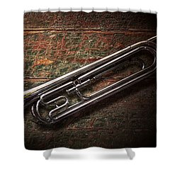 Instrument - Horn - The Bugle Shower Curtain by Mike Savad