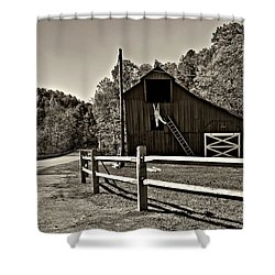 Involved In One's Work Sepia Shower Curtain by Steve Harrington