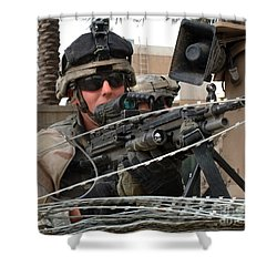 Iraqi And U.s. Soldiers Patrol The Al Shower Curtain by Stocktrek Images