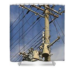 Japan Power Utility Pole Shower Curtain by Daniel Hagerman