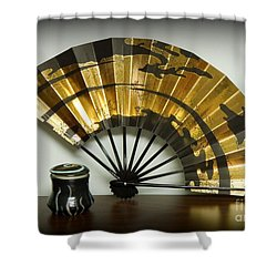 Japanese Fan And Pot Shower Curtain by Renee Trenholm