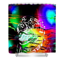 Jazzy Smiling Black Lab Shower Curtain by Barbara Griffin