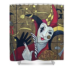Jester In Red Shower Curtain by Susanne Clark