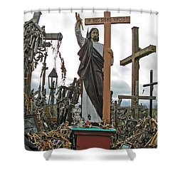 Jesus On The Hill Of Crosses. Lithuania Shower Curtain by Ausra Huntington nee Paulauskaite