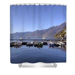 jetty in Ascona Shower Curtain by Joana Kruse