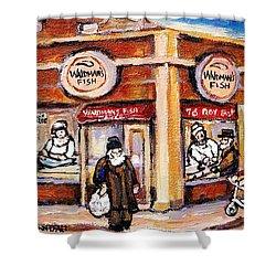 Jewish Montreal Vintage City Scenes Fish Market On Roy Street Shower Curtain by Carole Spandau