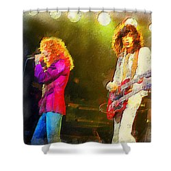 Jimmy Page And Robert Plant Shower Curtain by Riccardo Zullian