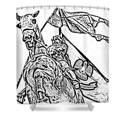 Joan Of Arc Statue French Quarter New Orleans Photocopy Digital Art Shower Curtain by Shawn O'Brien
