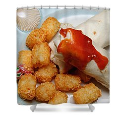 Jr Breakfast Burritos And Tots Shower Curtain by Andee Design