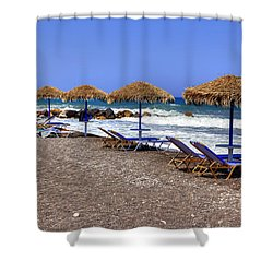 Kamari - Santorini Shower Curtain by Joana Kruse