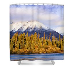Kathleen Lake And Mountains At Sunrise Shower Curtain by Yves Marcoux