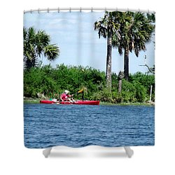 Kayaking Along The Gulf Coast Fl. Shower Curtain by Marilyn Holkham