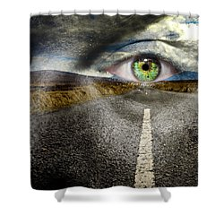Keep Your Eyes On The Road Shower Curtain by Semmick Photo
