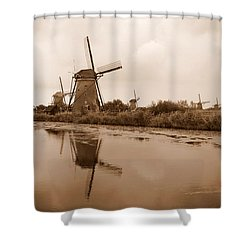 Kinderdijk In Sepia Shower Curtain by Carol Groenen