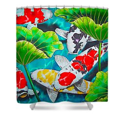 Koi And Lotus Shower Curtain by Daniel Jean-Baptiste