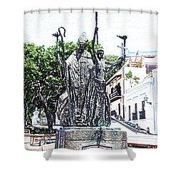 La Rogativa Sculpture Old San Juan Puerto Rico Colored Pencil Shower Curtain by Shawn O'Brien