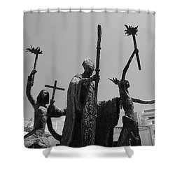 La Rogativa Statue Old San Juan Puerto Rico Black And White Shower Curtain by Shawn O'Brien