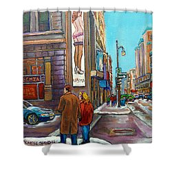 La Senza Peel Street Montreal Shower Curtain by Carole Spandau