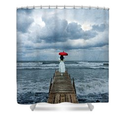 Lady On Dock In Storm Shower Curtain by Jill Battaglia