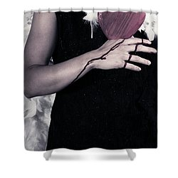 Lady With Blood And Heart Shower Curtain by Joana Kruse