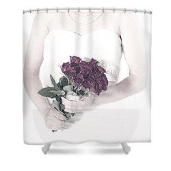 Lady With Roses Shower Curtain by Joana Kruse