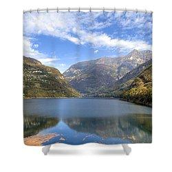 Lago Di Vogorno Shower Curtain by Joana Kruse
