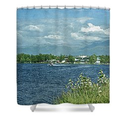 Lake Hood Anchorage Alaska Shower Curtain by Kim Hojnacki