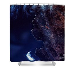 Land And Water From Satellite Shower Curtain by Stocktrek Images