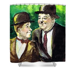 Laurel And Hardy Shower Curtain by Mel Thompson