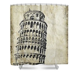 Leaning Tower Of Pisa On Old Paper Shower Curtain by Setsiri Silapasuwanchai
