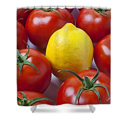 Lemon And Tomatoes Shower Curtain by Garry Gay